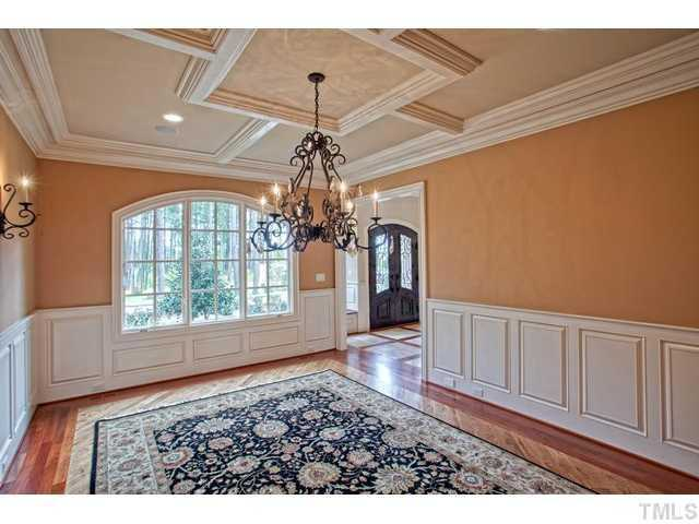 Dining Room with coffered ceiling