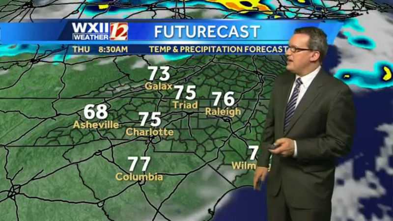 "Of Thursday, WXII's Lanie Pope says: ""Hot highs with increasing clouds and scattered afternoon storms ahead of an approaching front."""