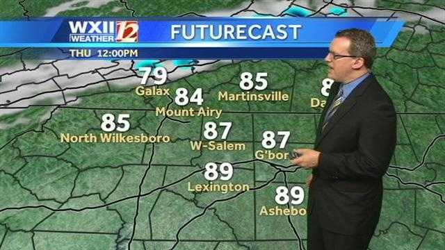 Let's check the futurecast and temperature slides starting at noon.