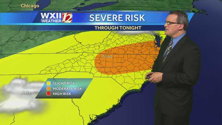There is a moderate risk of severe storms Thursday in the Triad and points east. Click through for dayplanner and futurecast slides from Brian Slocum.