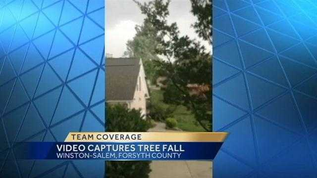 Nicole Ducouer shot video of a tree falling on a home in Winston-Salem.  Click here to watch!