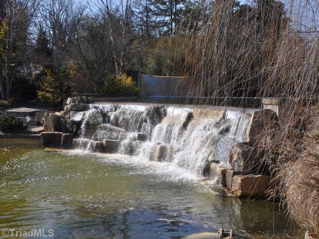 One of three ponds with a waterfall