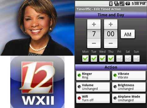 Wanda's Favorite apps:The WXII app: Carry WXII 12 with you wherever you go and connect to local news.Timeriffic app: Control mute, vibrate, brightness, wifi and airplane on/off to your schedule.