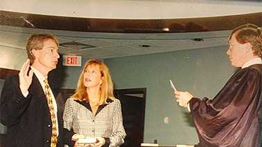 Judge Mitchell McLean and Beth McLean during swearing-in ceremony in 1999