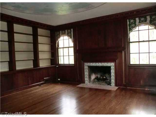 Mahogony Library with fireplace
