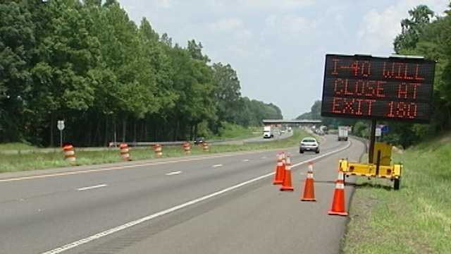 Yadkin River bridge work sign