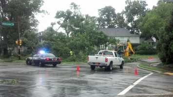 WXII photojournalist Michael Brock uploaded several photos of Sunday storm damage in the Triad. This is a tree down across Bessemer Avenue in Greensboro. | Upload your photos with 'u local'