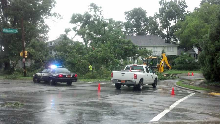 WXII photojournalist Michael Brock uploaded several photos of Sunday storm damage in the Triad. This is a tree down across Bessemer Avenue in Greensboro.   Upload your photos with 'u local'