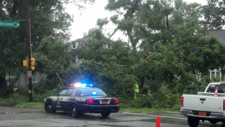 Tree down across Bessemer Avenue Greensboro (thanks, WXII's Michael Brock)