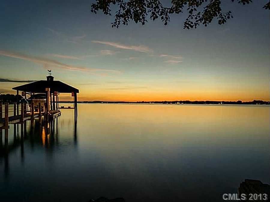 Sunset view of Lake Norman from the property