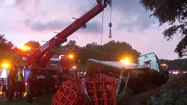 An overturned tractor-trailer on U.S. Route 52 in Winston-Salem caused the closure of northbound lanes Monday, police said.