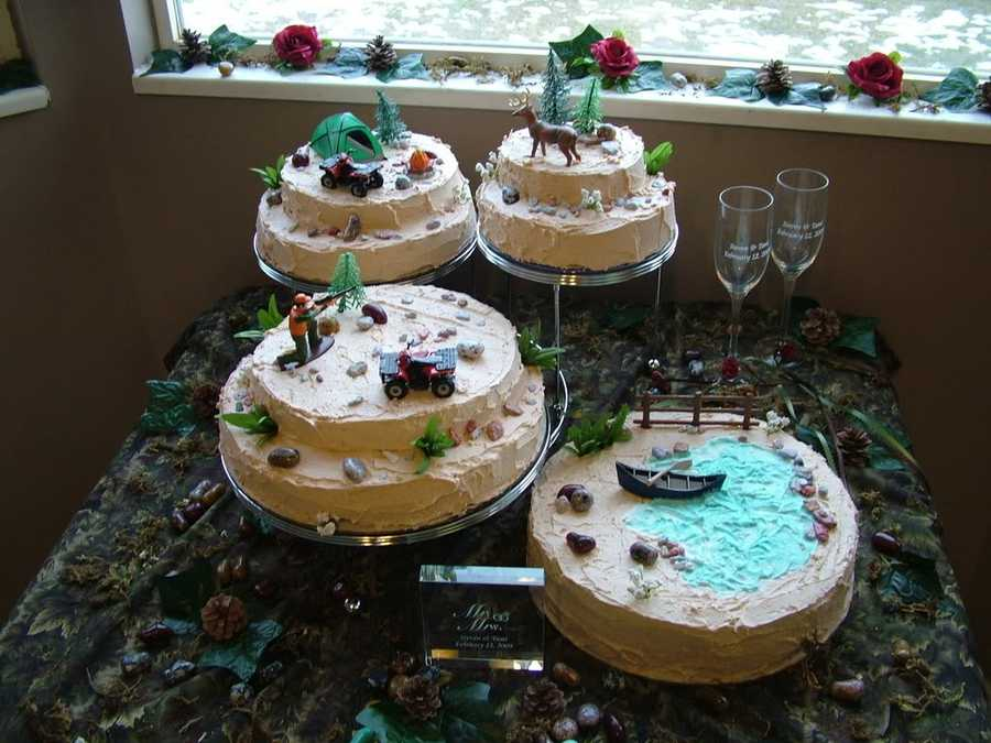 These four separate cakes look incredible for a Redneck themed wedding with hunting, camping and fishing all included.