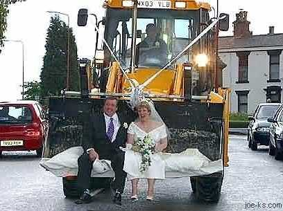 This couple seems happy with their wedding tractor experience.