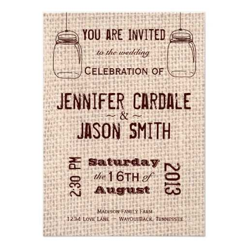 This cool burlap looking material looks great under the wording for the wedding invitations. Can be used as party invites for the wedding, the program and menu.