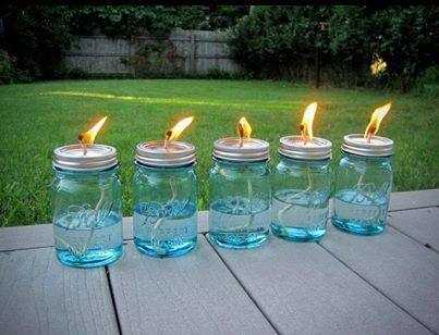 Color or buy colorful mason jars to use for citronella candles for the backyard or outside receptions.