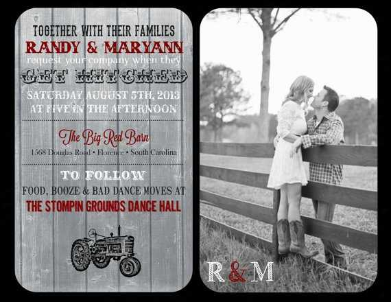 "This wedding invitation has a tractor so that's a plus for any ""Redneck Wedding"" and a nice photo of the couple."