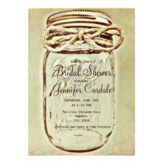 These bridal shower invitations in the shape of a jar could be used for anything. The Save The Date, the menu at the reception, Wedding invitations but just make sure something is in them and give them as favors to the wedding guests.