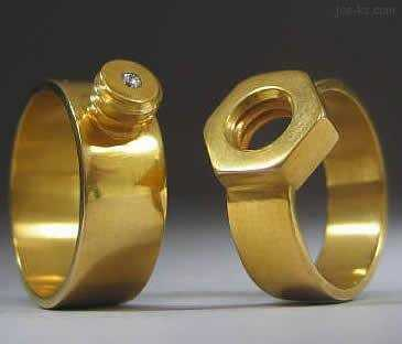 These couples wedding rings match for life. The bolt and screw fit perfectly for the couple to always belong to one another. There are also several camouflage rings online.