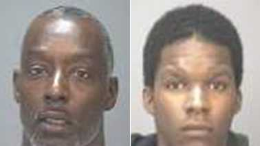 Oneil Harrison Jr., left, and Devlyn Bagging, right