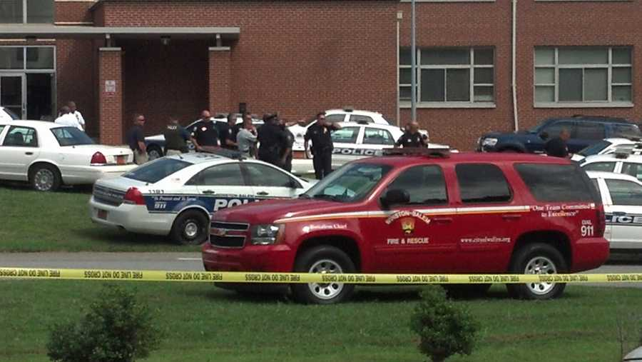 Here are photos from the scene outside Carver High School on Friday. (Photo by WXII's Michael Brock)