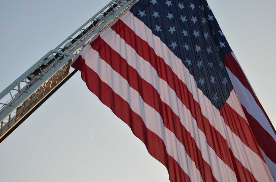 The Clemmons Fire Department on Wednesday displayed a 60 foot by 30 foot American flag in remembrance of Sept. 11. The flag was on I-40.