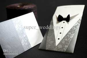 Look here for more information on this cool bow tie wedding invitation.