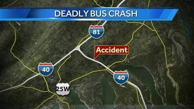 The crash happened about 2 p.m. on Interstate 40 near the Interstate 81 split about 30 miles away from the North Carolina-Tennessee border.