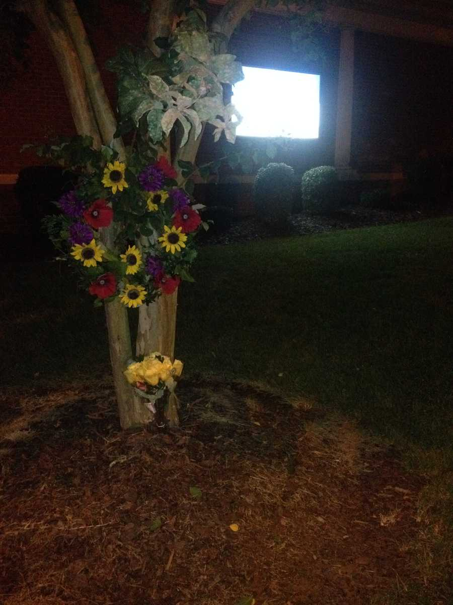 Flowers outside Front Street Baptist Church on Thursday morning (photo by WXII's Nicole Ducouer)