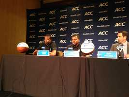 WXII executive producer Brian Neal went to ACC Media Day in Charlotte on Wednesday and uploaded these photos to wxii12.com. In this photo, Duke players talk to reporters.