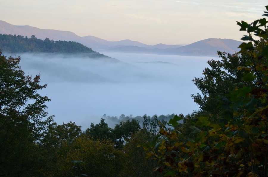 This image is from Deep Gap, looking toward Boone. Fog covers Highway 421.