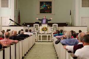 8. Like here at Friendship Baptist Church in Winston-Salem, Austin often preaches.