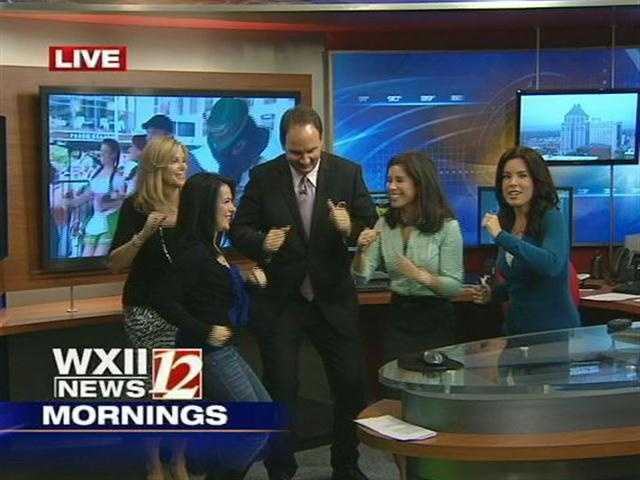 20. Austin loves cutting up (in this case, cutting a little rug) with the ladies during commercial breaks.