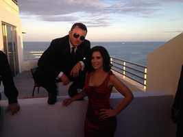 Nicole and Austin on his balcony at a pre-party