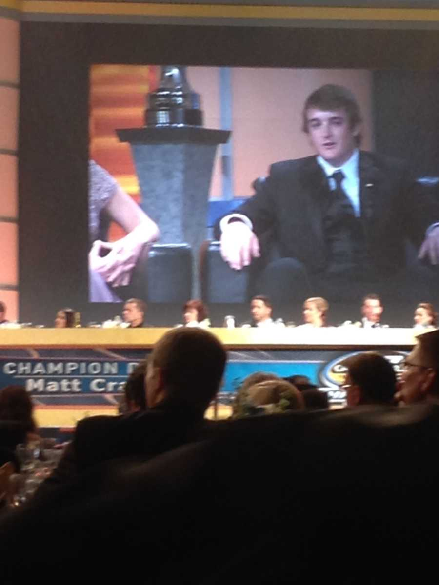 Austin's brother, Ty Dillon, being interviewed during the banquet