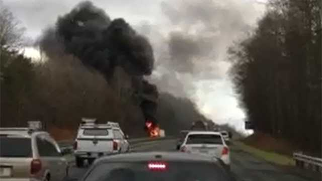 Tractor-trailer fire on Highway 52