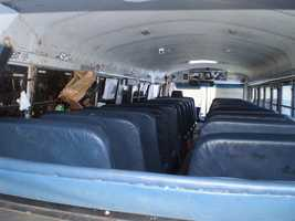 Here is a view inside the bus after the crash.