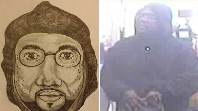 Sketch of suspected serial business robber in Burlington