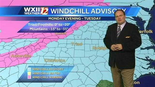 Record cold is on the way to the WXII viewing area. Here is the advisory map from Austin.