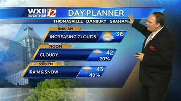 Parts of the WXII viewing area will see snow Tuesday, and some areas could see accumulation. Check the futurecast images with Austin, starting with today's dayplanner. |Click to watch Austin's forecast.