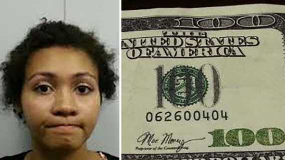 "Symone Vanessa Brown, left. Fake $100 bill signed by ""Mo Money,"" right."