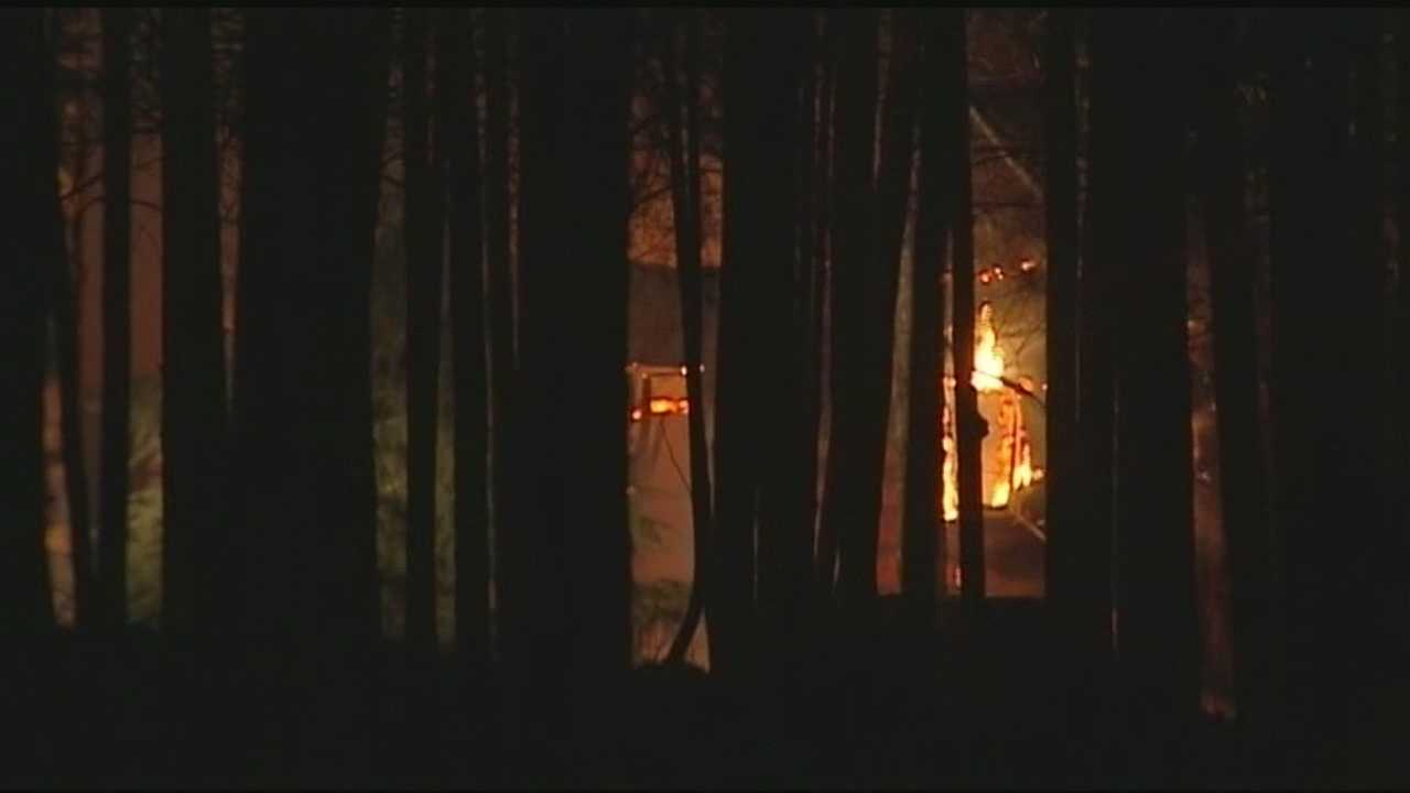 Authorities say the fire started around 2:00 a.m. at a large log cabin on 1234 High Valley Road.