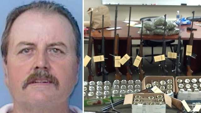 Left: Roger Dale Berrier. Right: Items deputies allege were seized from drug bust.