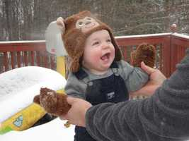 Ahston's first snow