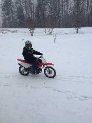 Riding in the snow in Mount Airy