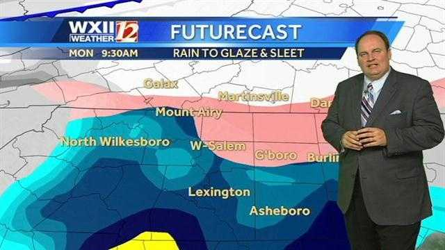 Here is a look at WXII Futurecast images with Austin, starting Monday morning.