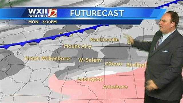 WXII's Austin Caviness said drivers should watch for slick spots this afternoon. Bridges and overpasses could be dangerous.