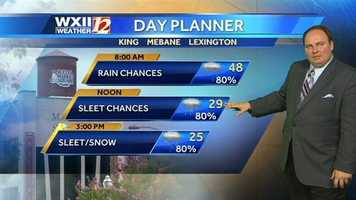 Here is the Monday weather planner.