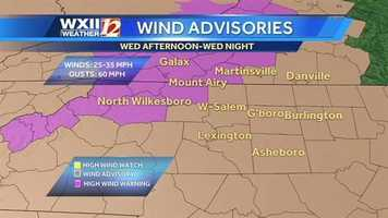 High wind warnings are in effect today in the Foothills and southwest Virginia, with wind advisories in the Piedmont-Triad. | County-by-County alerts