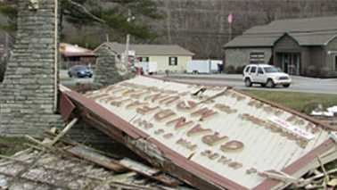 Grandfather Mountain sign blown down