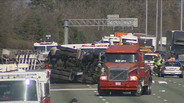 Overturned tanker on Interstate 40-85 in Alamance County